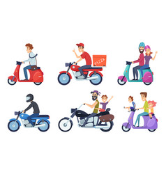 Motorcycle driving man rides with woman and kids vector