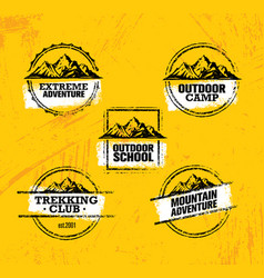 Mountain adventures stamps collection vector