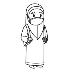 Muslim girl character wearing hijab and face mask vector