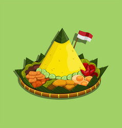 nasi tumpeng is an indonesian cone-shaped rice vector image