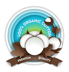 natural organic cotton paper cut emblem vector image