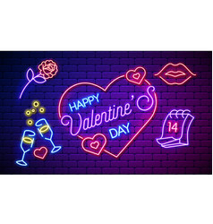 neon valentines day card or poster banner vector image