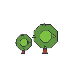 oak tree line icon concept oak tree flat vector image