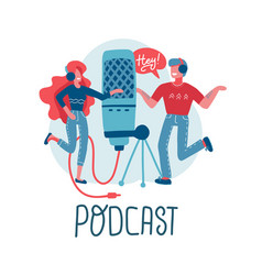 online training podcast radio podcast concept vector image