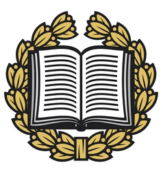 Open book and laurel wreath-book emblem vector
