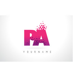 pa p a letter logo with pink purple color and vector image