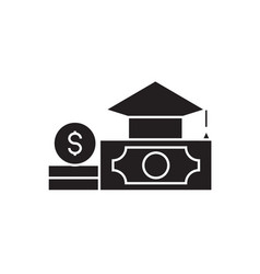 Paid tuition black concept icon paid vector