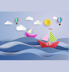 Paper sailing boat and balloon vector