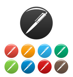 pen icons set color vector image