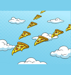 Pizza slice like bird pop art vector