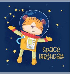 Postcard poster cute astronaut tiger in space vector