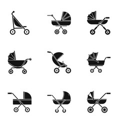 Pram stroller icon set simple style vector