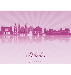 Rhodes skyline in purple radiant orchid vector image