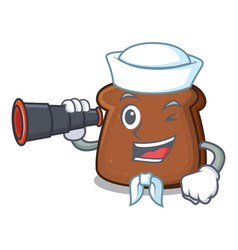 Sailor with binocular brown bread mascot cartoon vector