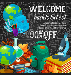 Sale banner of back to school season promotion vector