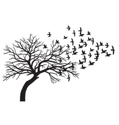 scary bare black tree silhouette and flock vector image