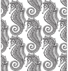 Seamless pattern with hand drawn seahorses vector image