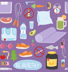 Seamless pattern with healthy lifestyle daily vector