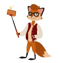 Selfie photo fox boy hipster with glasses vector image