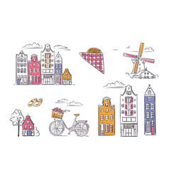 Set amsterdam symbols in sketchy style vector