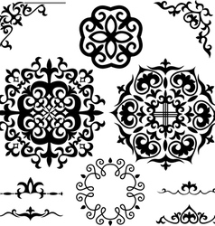 Set Kazakh Asian ornaments and patterns vector
