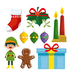 set marry christmas decoration to celebrate vector image
