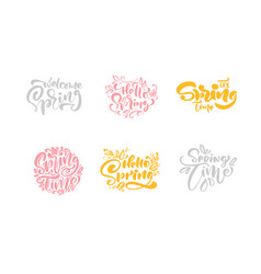set of six spring time pastel calligraphy vector image