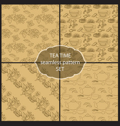 set tea time seamless pattern of the doodle leave vector image
