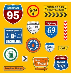 set vintage retro gasoline signs and labels vector image