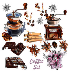 Set with coffee grinder anis stars and coffee vector
