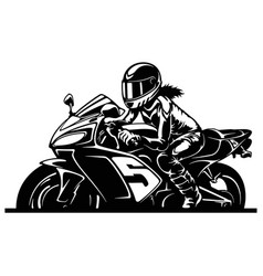 Sexy girl and sport motorcycle - superbike super vector