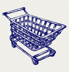 Shopping supermarket cart vector