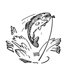 Sketch fish being caught vector