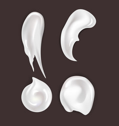Skincare cream smear cosmetics and makeup gel or vector