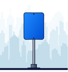 square blue road sign on a background landscape vector image