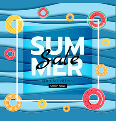 Summer banner sale top view blue sea paper waves vector