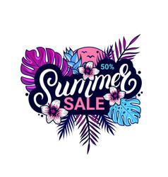 summer sale banner design with jungle plants vector image