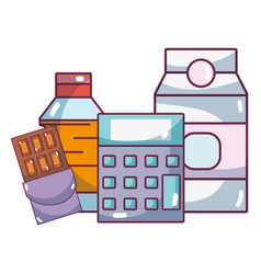 supermarket products cartoon vector image