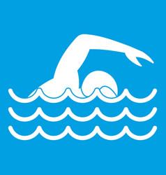 Swimmer icon white vector