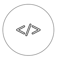 Symbol code icon black color in circle vector