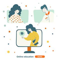 teacher education online school flat character vector image