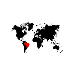 the map brazil is highlighted in red on the vector image