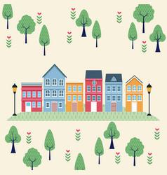 town scenery cartoons vector image