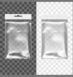 transparent blank plastic bag with hang slot vector image