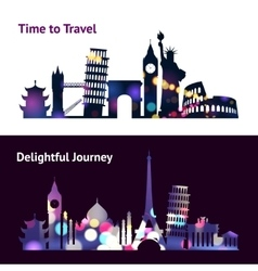 Travel Sights Banners vector image