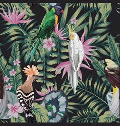tropical birds plants leaves flowers abstract vector image