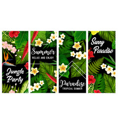 tropical plants and flowers banners set vector image