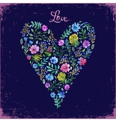 Watercolor floral heart and vector