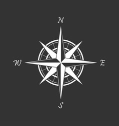 White compass icon on a black background vector
