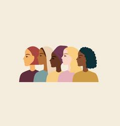 Women different nationalities border pastel vector